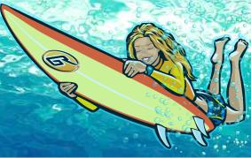 Corey surfing